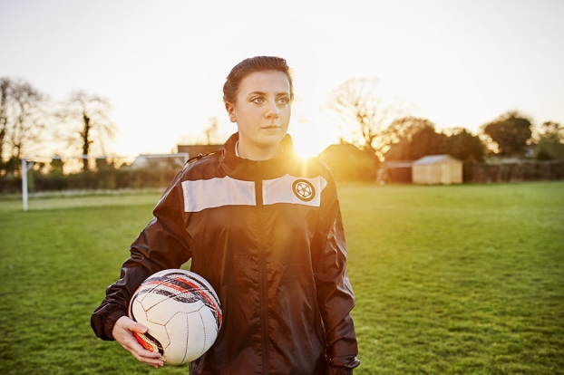 Stock image of a female footballer.