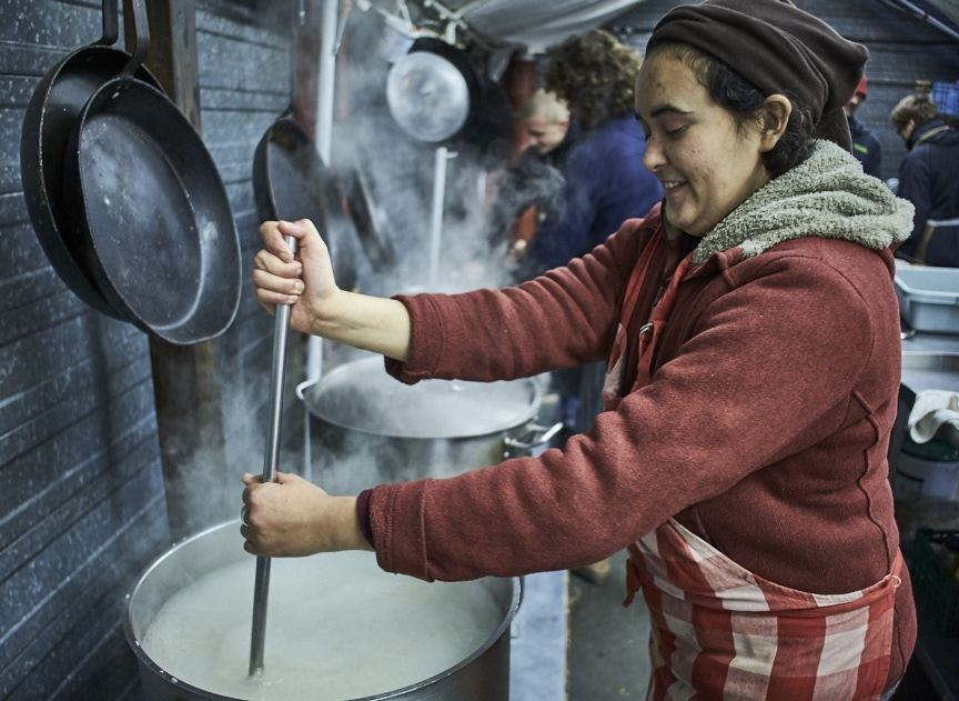 Charity worker cooking for Calais refugees