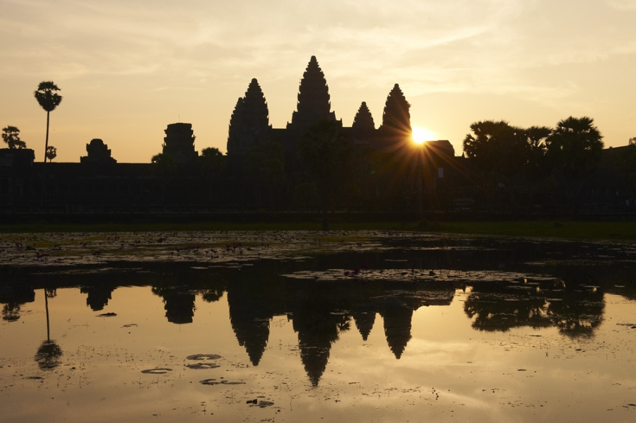 Angkor Wat silhouetted.