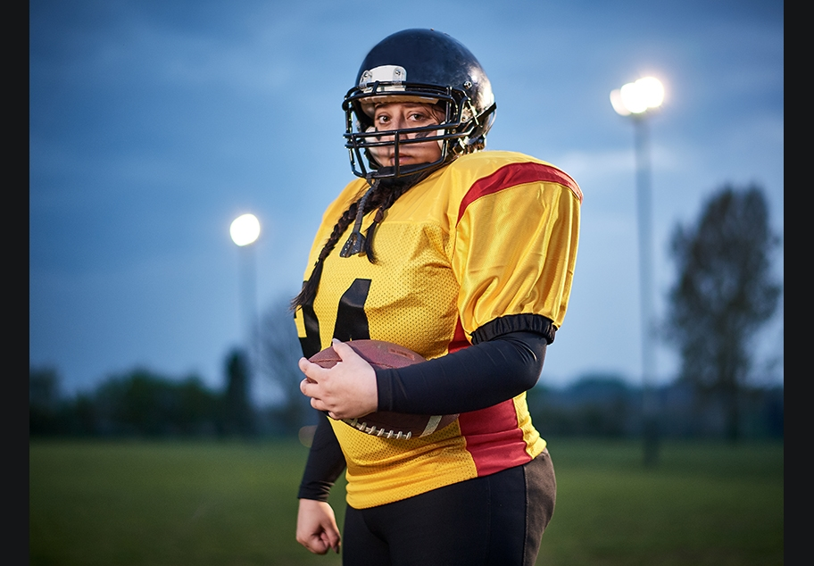 Portrait of Female American Football Player