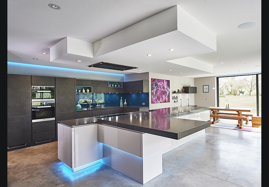 Modern Kitchen interior with Designer Lighting