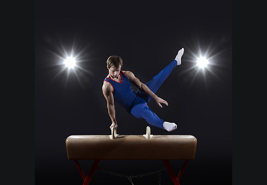 Male Gymnast on pummel horse