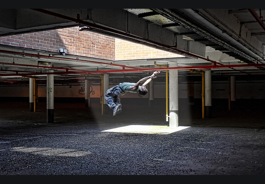 Male doing Parkour