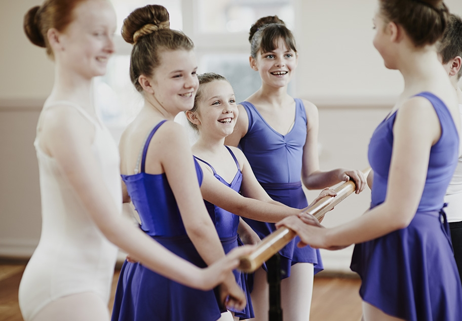 Girl chatting after ballet class
