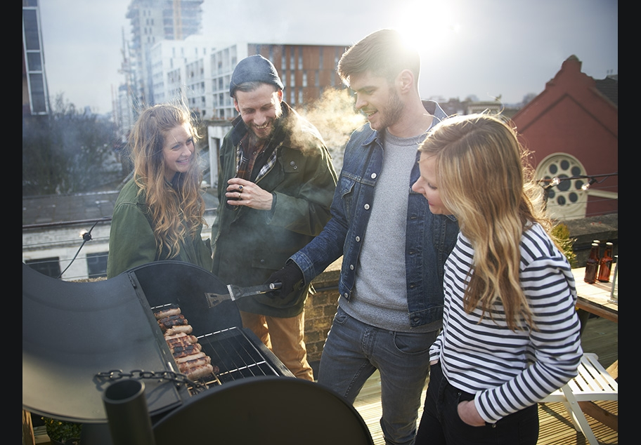Roof garden BBQ in central London